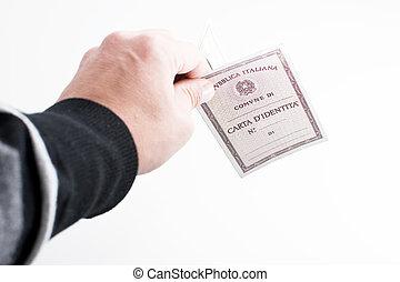 cartão identidade, italiano