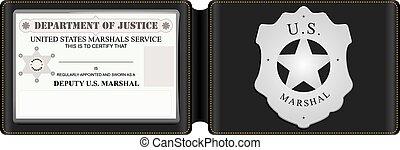 cartão identidade, nós, marshal