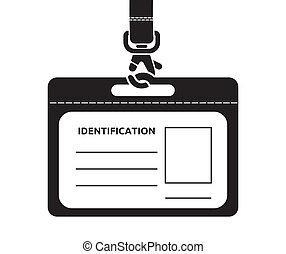 cartão identificação, lanyard