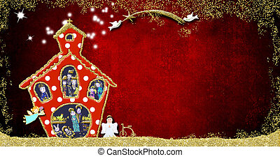 cartão, igreja, natividade, engraçado, saudação, cena natal