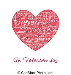 cartão, ilustração, valentine