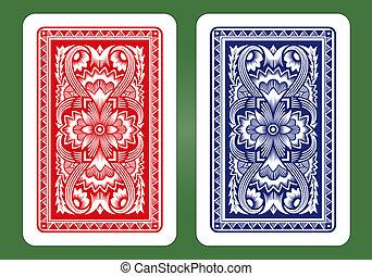 cartão jogando, costas, designs.