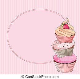 cartão, lugar, cupcake