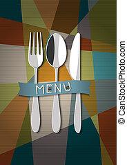 cartão, menu, vetorial, desenho, restaurante