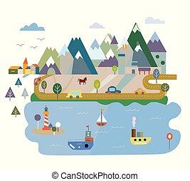 cartão, montanhas, turismo, lago, ilustração
