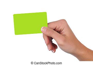cartão, mulher segura, presente, em branco