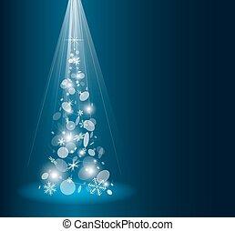 cartão natal, com, árvore abeto