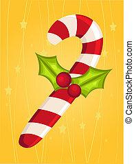 cartão natal, com, cana doce