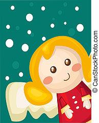 cartão natal, com, caricatura, anjo