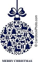 cartão natal, com, decorativo, azul