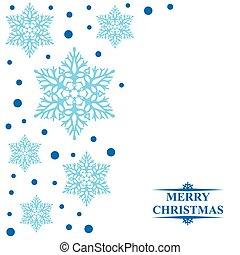 cartão natal, com, decorativo, azul, snowflakes