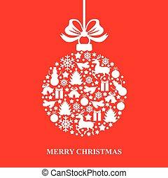 cartão natal, com, decorativo, bola