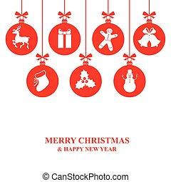 cartão natal, com, decorativo, bolas