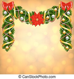 cartão natal, com, fir-tree, decoração