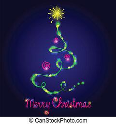 cartão natal, com, fir-tree.