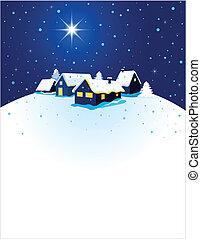 cartão natal, com, noturna, cidade, e, neve