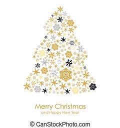 cartão natal, com, ouro, snowflakes, abeto