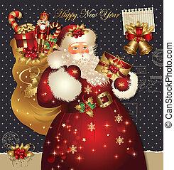 cartão natal, com, papai noel