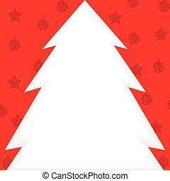 cartão natal, com, papeis, árvore abeto, para, saudação, texto