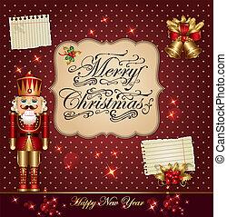 cartão natal, com, quebra-nozes