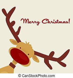 cartão natal, com, rena