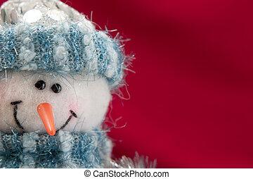cartão natal, com, um, boneco neve