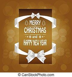 cartão natal, com, um, um, arco, ribbon., vetorial