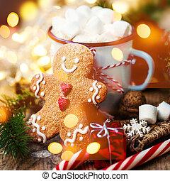 cartão natal, com, vindima, assalte, cacau quente,...