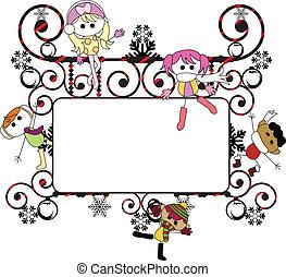 cartão natal, crianças