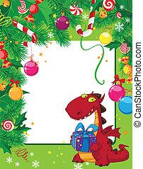 cartão natal, dragão