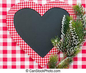cartão natal, em branco, em, forma coração
