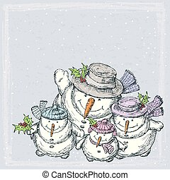 cartão, natal familiar, alegre, bonecos neve