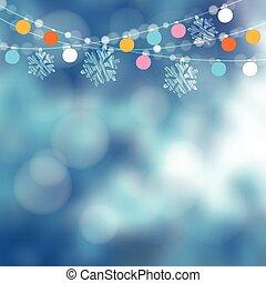 cartão natal, invitation., jardim inverno, partido, decoration., vetorial, ilustração, com, corda luzes, snowflakes