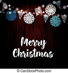 cartão natal, invitation., jardim inverno, partido, decoration., vetorial, ilustração, com, corda luzes, papel, corte, snowflakes, e, antigas, madeira, experiência.