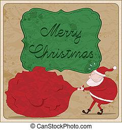 cartão, natal, santa