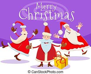 cartão natal, santa, desenho, caricatura, claus
