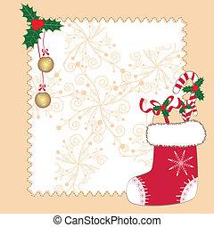cartão natal, saudação, ornamentos