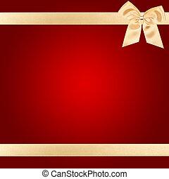 cartão, natal, vermelho, arco ouro