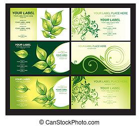 cartão negócio, com, foliage verde