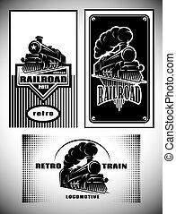 cartão negócio, modelo, set., vindima, trem vapor, antigas, retro, ferrovia
