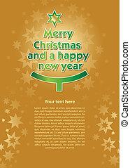 cartão, novo, véspera, natal, ano