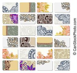 cartão, ornamental, negócio