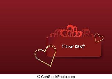 cartão ouro, corações, vermelho, valentine