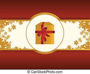 cartão, ouro, presente, vermelho