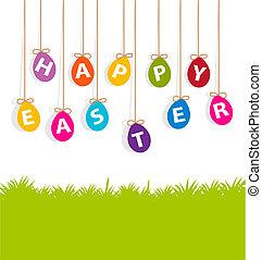 cartão, ovos, páscoa, penduradas, colorido