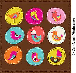 cartão, pássaros, saudação, cobrança, decorativo, cute