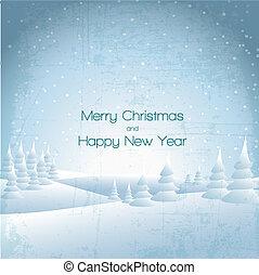 cartão, paisagem inverno, nevado