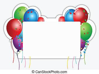 cartão papel, aniversário