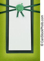 cartão papel, com, verde, lacre, selo