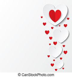 cartão papel, valentines, corações, branco vermelho, dia
